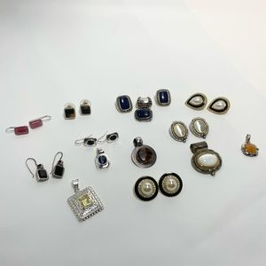 Vintage Style Old Time Costume Jewelry Earrings & Pendant Lot